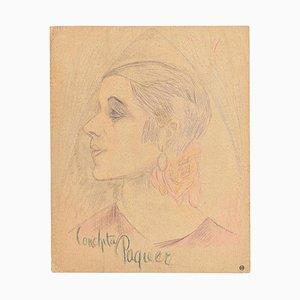 Maurice Lourday, Portrait, Mischtechnikwerk, 1927
