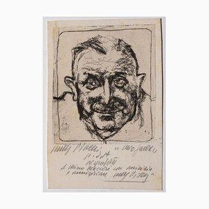 Walter Piacesi, Portrait, Etching, Mid-20th Century