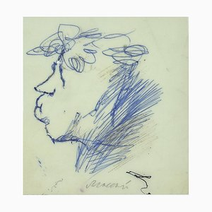 Mino Maccari, Porträt von Ottone Rosai, blaue Tinte, 1960er