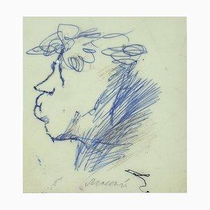 Mino Maccari, Portrait of Ottone Rosai, Blue Ink, 1960s