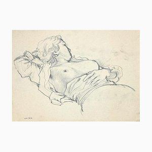 Leo Guida, Sleeping Nude Woman, Charcoal on Pencil, 1940s