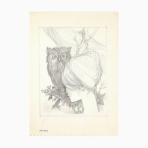 Leo Guida, The Owl and the Girl, Drawing on Paper, 1950s