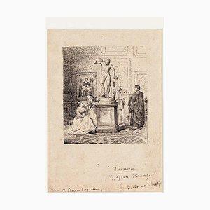 Inconnu - Firenze - Visita agli Uffizi - Encre Originale sur Papier - 1880s