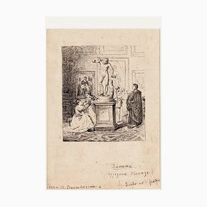 Unknown - Firenze - Visita agli Uffizi - Original Ink on Paper - 1880s