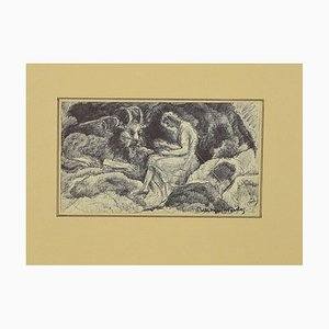 Mogniat-Duclos Bertrand, Figures With Dragon, Pen on Paper, 1950s