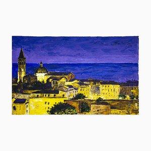 Luciano Sacco, Night in Alghero, Oil on Canvas, 1980s