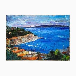 Luciano Sacco, View of Porto Santo Stefano, Oil on Canvas, 1980s