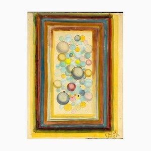 Jean-Raymond Delpech, Abstrait Sphères, Aquarelle sur Carton, 1939