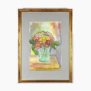 Colline Caroline, Fleurs, Aquarelle sur Papier, milieu du 20ème Siècle