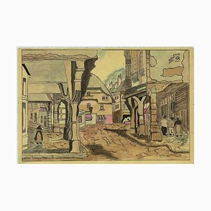 Unknown - Austrian Village - Original Ink and Watercolor on Paper - Mid-20th Century
