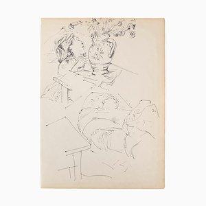 Unknown, Portrait, Pen on Paper, Mid-20th Century