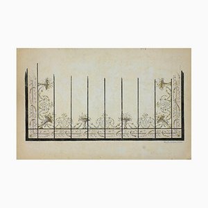 Unknown, Decoration, Pen Drawing Signed E.Duc, 1890s