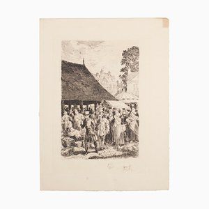 Auguste Brouet, The Market, Etching, Early 20th Century