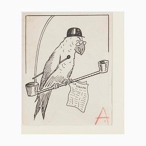 Bruno Angoletta, Parrot, China Ink, Early 20th Century