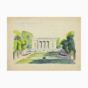 Pierre Segogne, Palace in the Park, Ink and Watercolor, Early 20th Century