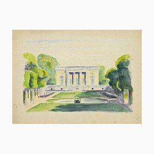 Pierre Segogne, Palais dans le Parc, Encre et Aquarelle, Début 20ème Siècle