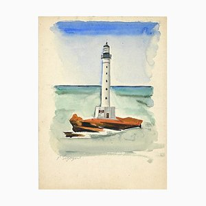 Pierre Segogne, The Lighthouse, Watercolor, Early 20th Century