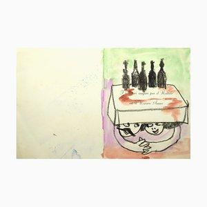 Mino Maccari, Grußkarte, Bleistift & Aquarell, 1965