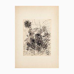 Gustave Bourgogne, Composition en Fleurs, Encre de Chine et Aquarelle, 20ème Siècle