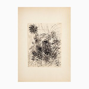Gustave Bourgogne, Flowers Composition, China Tinte und Aquarell, Mitte 20. Jahrhundert
