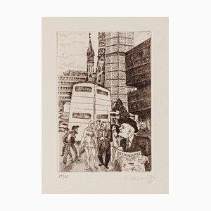 Conrad Felixmuller, The City, Etching, 1971
