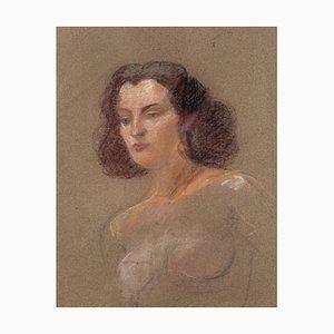 Rolando Persi, Portrait, Pastel on Paper, Mid-20th Century