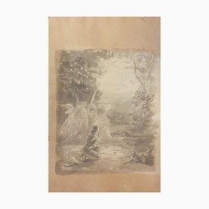 Unbekannt - The Good Shepher - Original Tinte und Aquarell auf Papier - 19. Jahrhundert