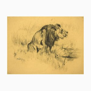 Wilhelm Lorenz, Lion, Drawing on Paper, 1943