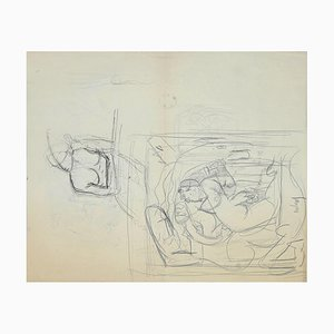 Leon Aubert, Studies, Pencil Drawing, 19th Century