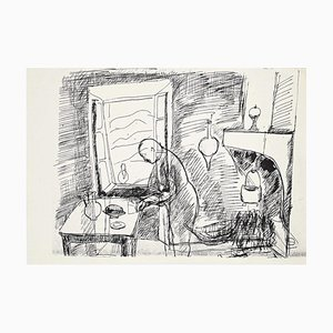 Herta Hausmann, In the Kitchen, Black Pen Drawing, Mid-20th Century