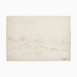 Marcel Mangin, Landscape, Pencil on Paper, Mid-20th Century