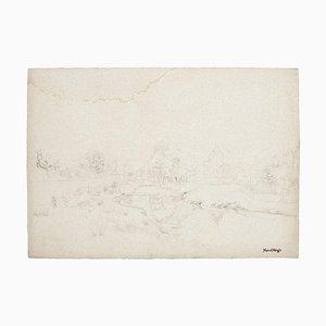 Marcel Mangin, Paysage, Crayon Sur Papier, Mi-20ème Siècle