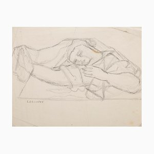 Jean-Francis Laglenne, Woman Figure, Pencil on Paper, Mid-20th Century