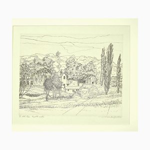 André Roland Brudieux, Landscape, Etching, 1970s