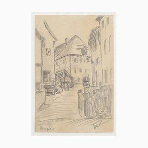 Werner Epstein, Dorf, Bleistift auf Papier, 1925