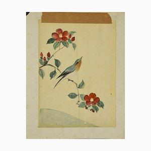 Unbekannt, Vogel auf dem Ast, Aquarell, 19. Jahrhundert