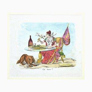 Unknown, Satirical Scene, Lithograph Hand Watercolor, 19. Jahrhundert