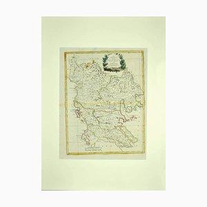 Acquaforte, Antonio Zatta, mappa della Grecia, XVIII secolo