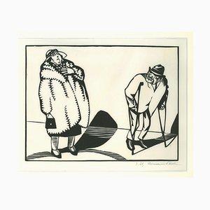 Paul Hermann Wagner, Contrasts, Woodcut, 1929