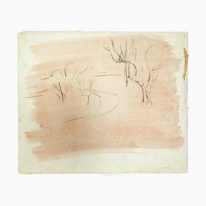 Herta Hausmann, Paysage, Encre et Aquarelle sur Papier, 1969