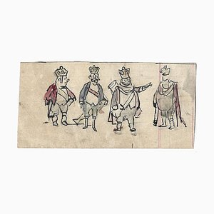 Gabriele Galantara, Four Kings, Drawing, 1910s