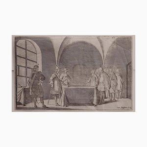 Cornelis Meyssens, Interior Meeting, Etching, 17th Century