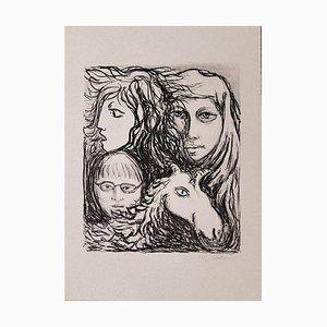 Lithographie Carlo Levi, The Motherhood, 1970s