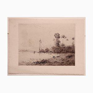 Peinture Hippolyte Camille Delpy, Paysage, Gravure à l'Eau Forte, 1904