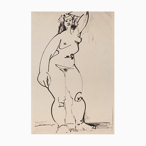 Tibor Gertler, Akt, Schwarze Filzstift Zeichnung, 1947