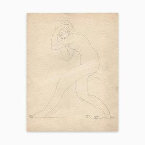 Georges-Henri Tribout, Stehende Nackte, Zeichnung, frühes 20. Jahrhundert