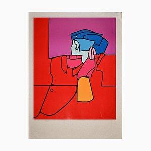 Valerio Adami, Red Guard, Screen Print, Late 1960s