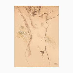 Emile Deschler, Nude, Charcoal Drawing, 1986