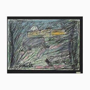 Nazareno Gattamelata, Landschaft, Öl-Pastell auf Papier, 1970er