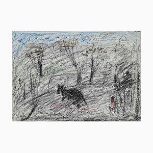 Nazareno Gattamelata, Landscape With Animals, Drawing, 1970s